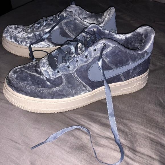 Blue Velvet Nike Air Force Ones